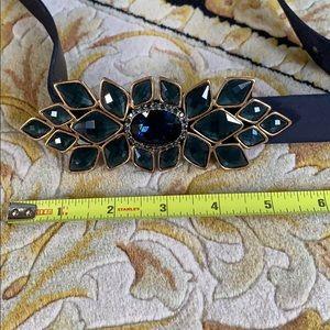 Oscar De La Renta Black with Green Blue Jewel Belt